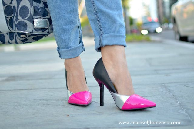 Fucsia, Silver and Black Shoes  #shoeslover #pinkshoes #higheels #zapatos