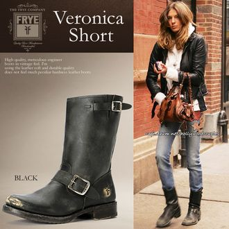Veronica leather Engineer Boots short Veronica Short veronica and even vintage, plus a high-quality design! Magazine s FRY FRYE latest belted Engineer Boots