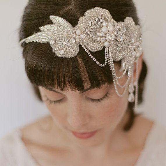 Wedding Headpiece Bridal Headband Bridal By Ericaelizabethdesign Pearl Bridal Headband Wedding Headpiece Vintage Vintage Veils Bridal