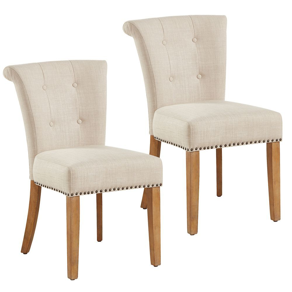 Selma Solid Wood Oak Parson Armless Dining Chair With Beige