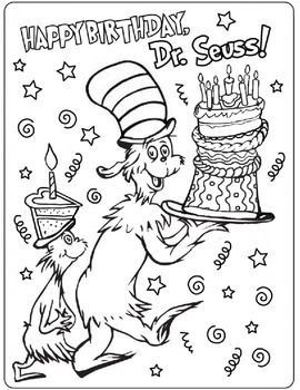 Happy Birthday Dr Seuss Dr Seuss Coloring Pages Dr Seuss Crafts