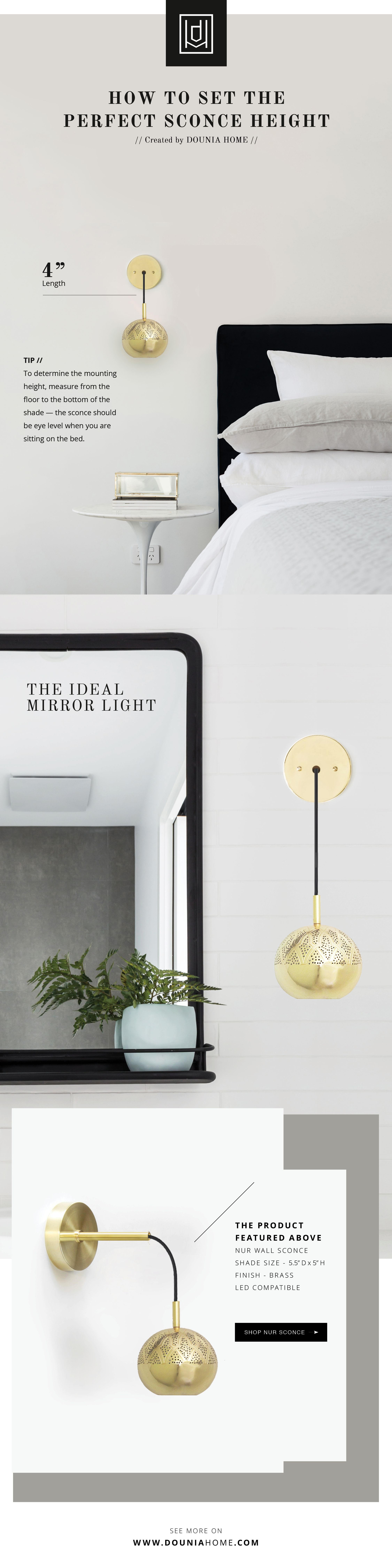 Pro Tips // How to Set the Perfect Sconce Height   Sconces ... on Height Of Bathroom Sconce Lights id=99697
