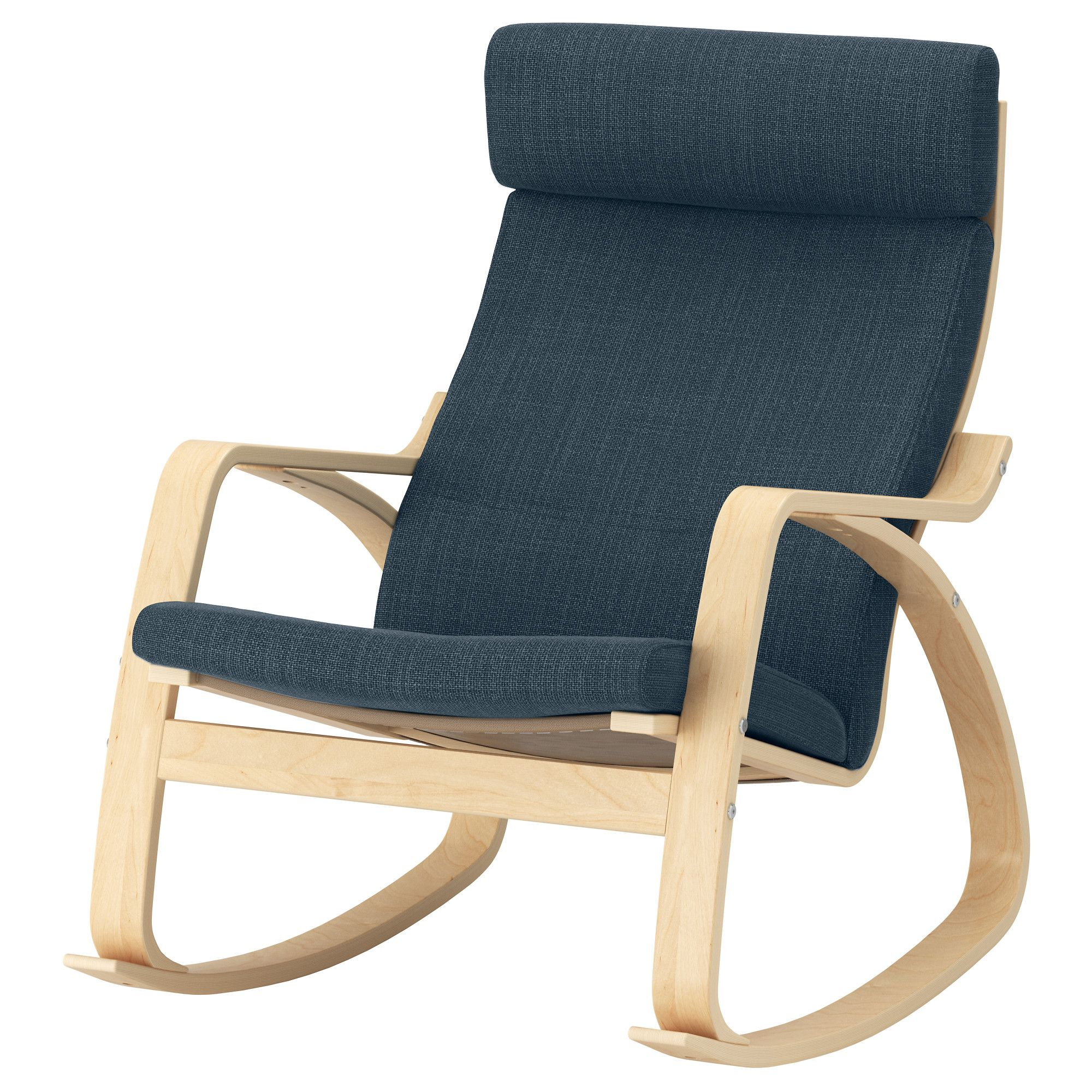 POÄNG Rocking chair birch veneer, Hillared dark blue