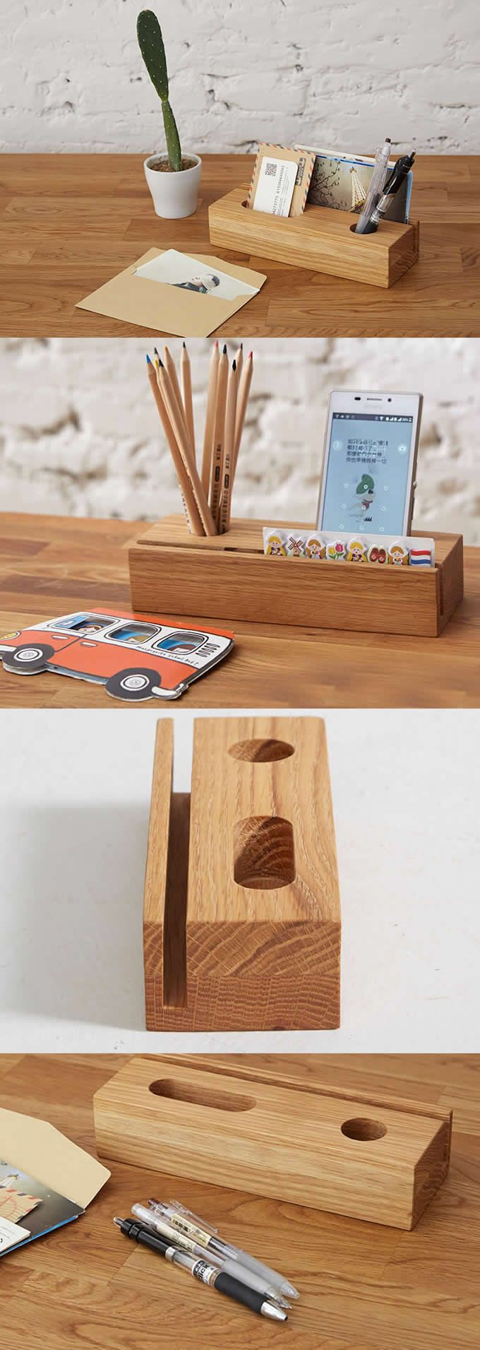 Superior Bamboo Wooden Office Desk Organizer Supplies Stationary Organizer Pen  Pencil Holder Stand IPhone Smart Phone Holder Dock Business Card Display  Stanu2026