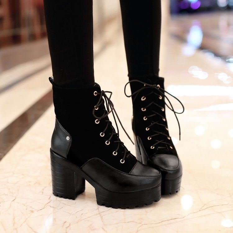 Donna Roma Chunky Rivet Punk Platform High Heel Block Chunky Roma Ankle Stivali   f6a9e2