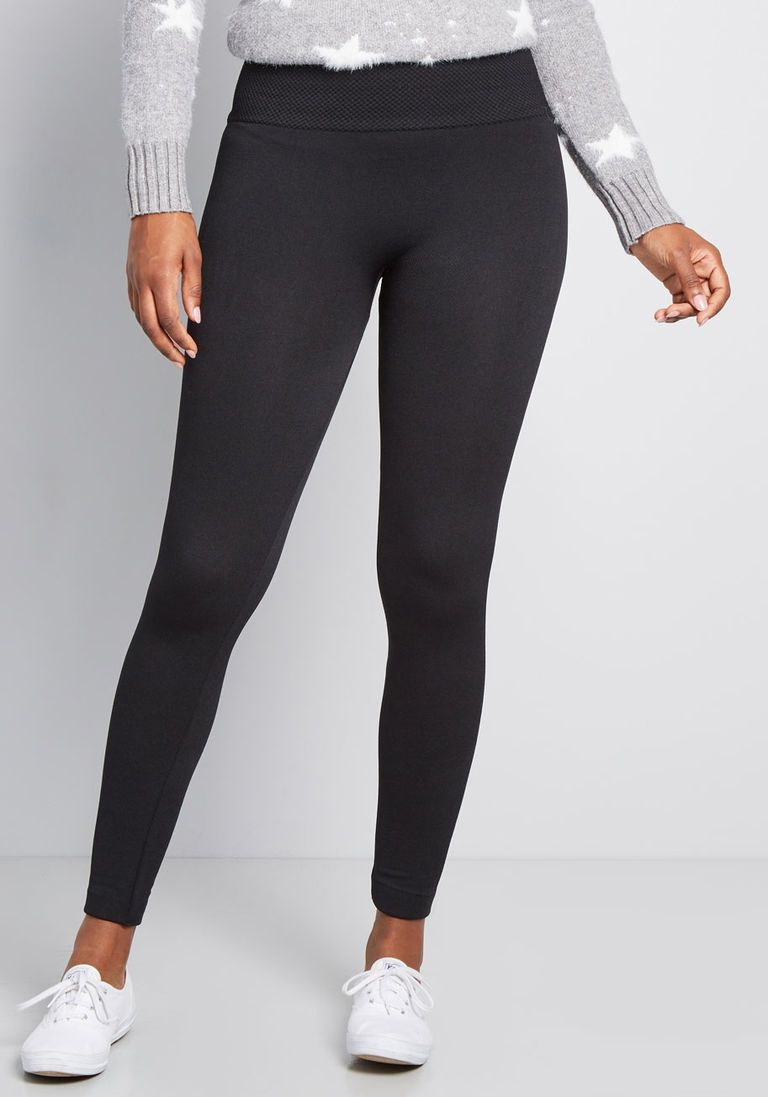 Black Warming Tights With Fleece Lining Pantyhose & Tights