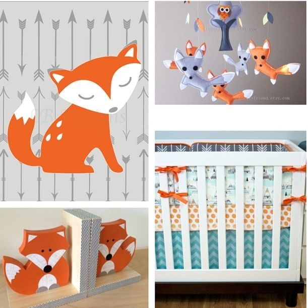 Woodland Nursery Decor Fox Arrow Orange And Gray Boy Ideas Print From Www Etsy