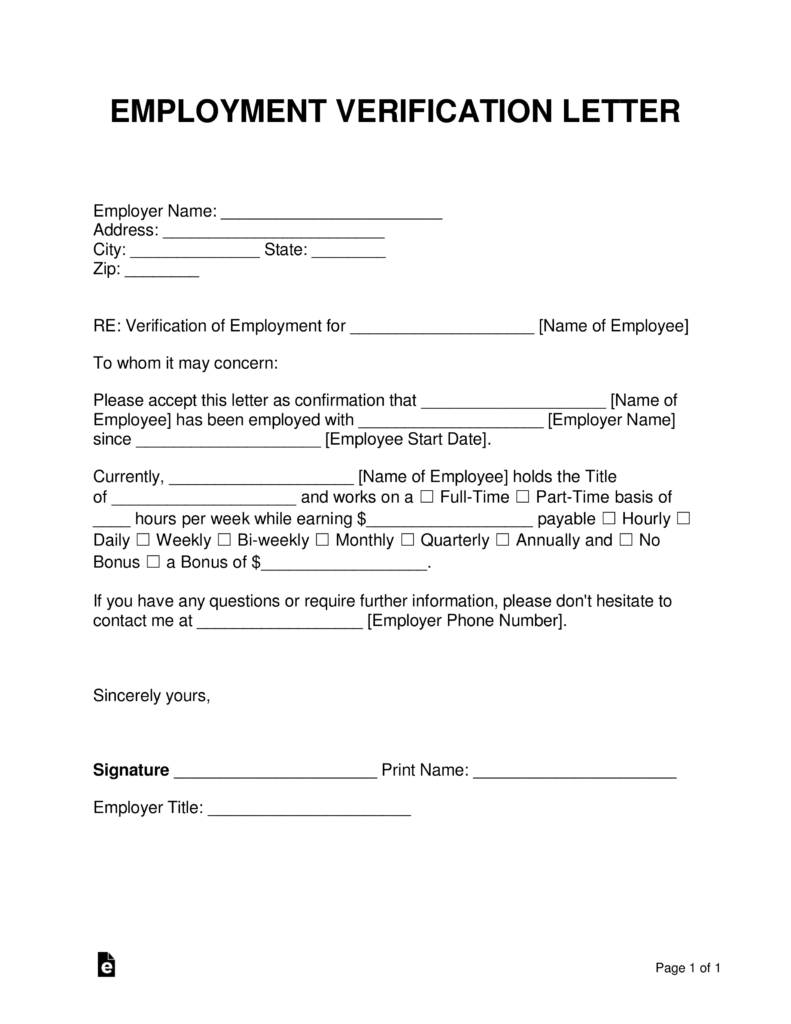 Free Employment Income Verification Letter Pdf Word Eforms