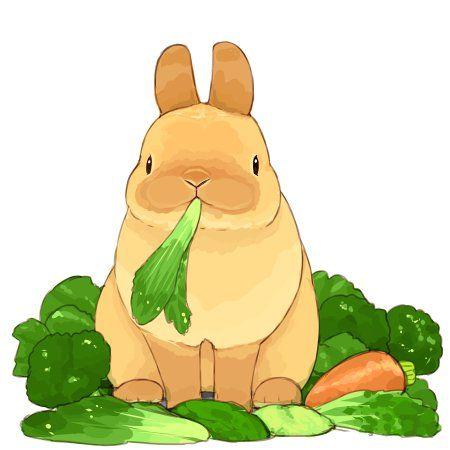 うさぎは野菜 うさぎ イラスト かわいい バニー アート かわいいウサギ