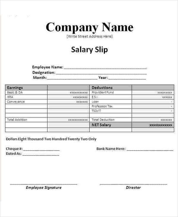 Salary Slip Templates 20 Ms Word Excel Formats Samples Forms Payroll Template Salary Ms Word
