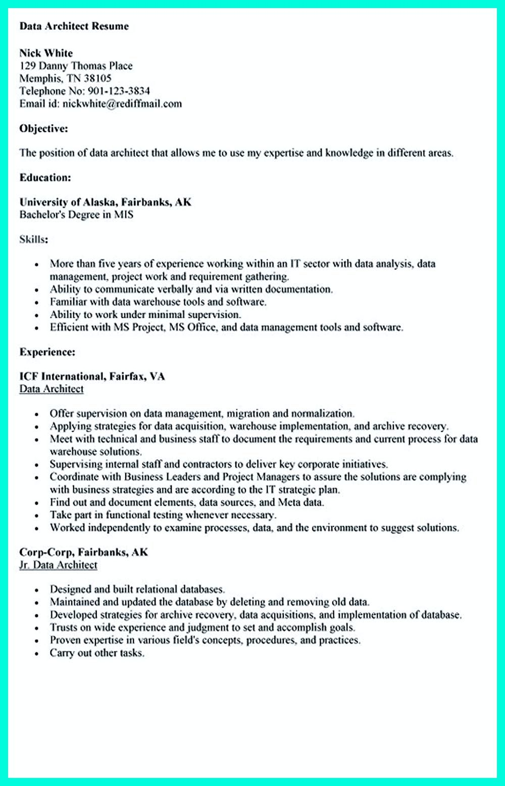 Skills On A Resume Examples In The Data Architect Resume One Must Describe The Professional