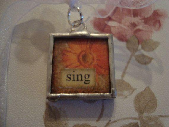 SING Flower  Soldered Glass Art Pendant by victoriacharlotte, $7.00