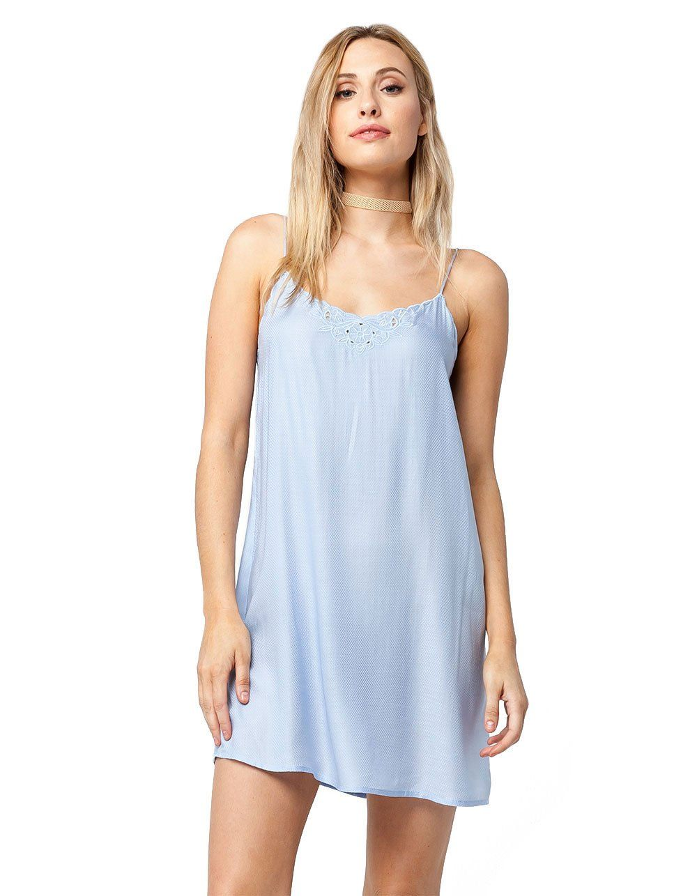 Full Tilt Embroidered Slip Dress Light Blue Large Continue To The Product At The Image Link This Is An Affiliate Link Dresses Slip Dress Casual Dress