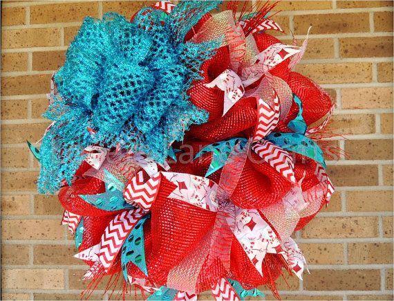 Christmas deco mesh wreath inspired by Dr by LoversLaneCrafts