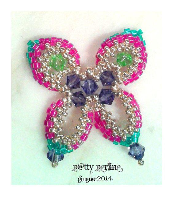 Italian and English Peyote Butterfly Pattern di PattyPerlineShop