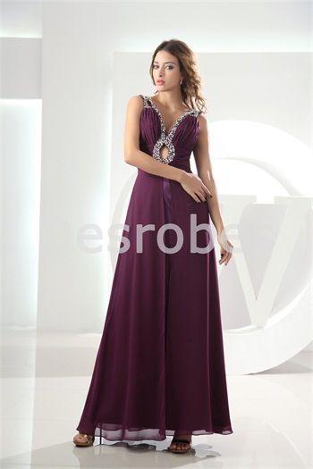 Robe de soirée en mousseline de soie col en V avec bretelles décoration perlée