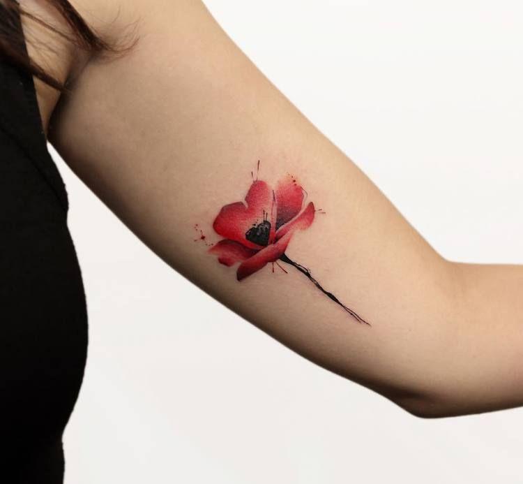 60 Beautiful Poppy Tattoo Designs and Meanings   TattooAdore -   18 beauty Flowers tattoo ideas