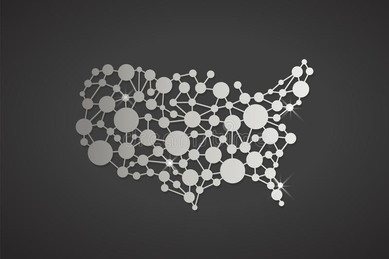 USA United States Platinum Network Map. Vector Graphic ...