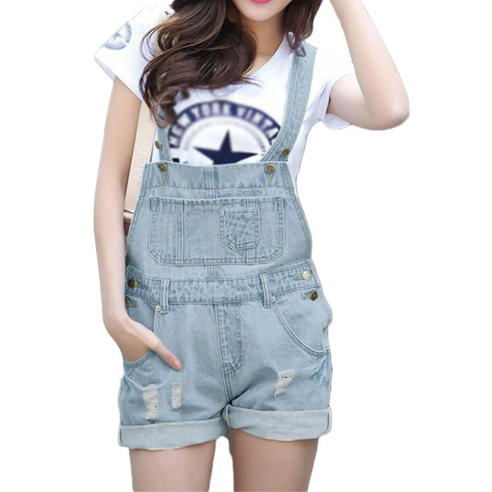 ab3ed12f659 New Hot Fashion Girl Denim Rompers Strap Pockets Frayed Ripped Holes  Overalls Rompers Womens Jumpsuit Shorts Jeans Light Blue
