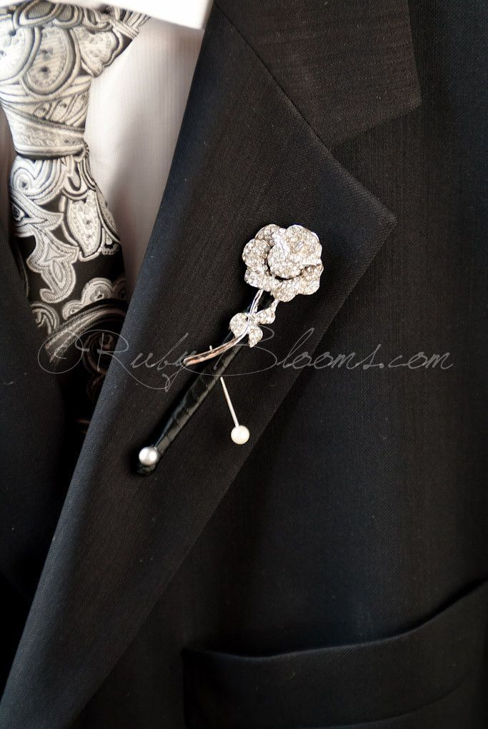 Crystal Silver Rose Flower Brooch Boutonniere