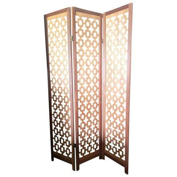 Vintage Wooden Room Divider Privacy Screen ($225) ❤ liked on