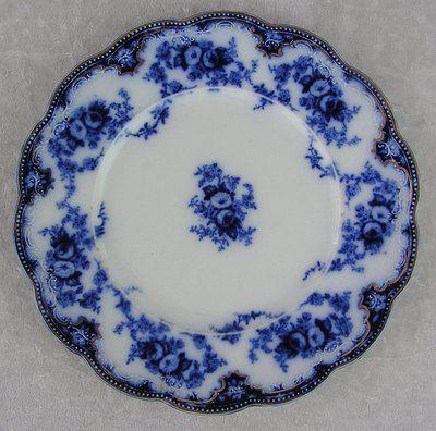 Antique WH Grindley England Florida Flow Blue Gold Trim Lunch Dessert Plate   eBay & Antique WH Grindley England-Florida Flow Blue Gold Trim Lunch ...