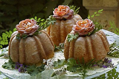 beautiful candied roses garnish mini bundt cakes