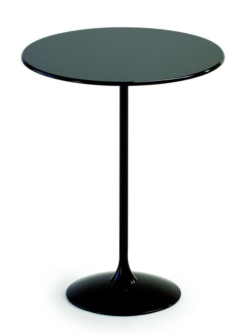 Flute High Bar Table Gl Topped Tall With Slim Central Leg