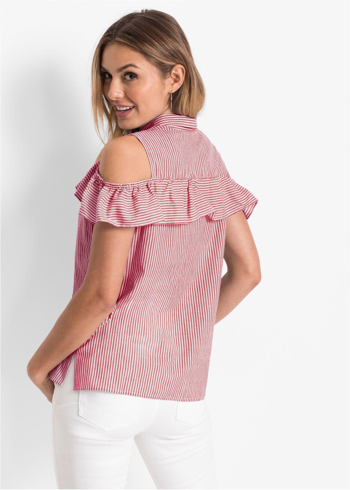 Cold-Shoulder-Bluse mit Volant ist zugleich lässig und elegant.