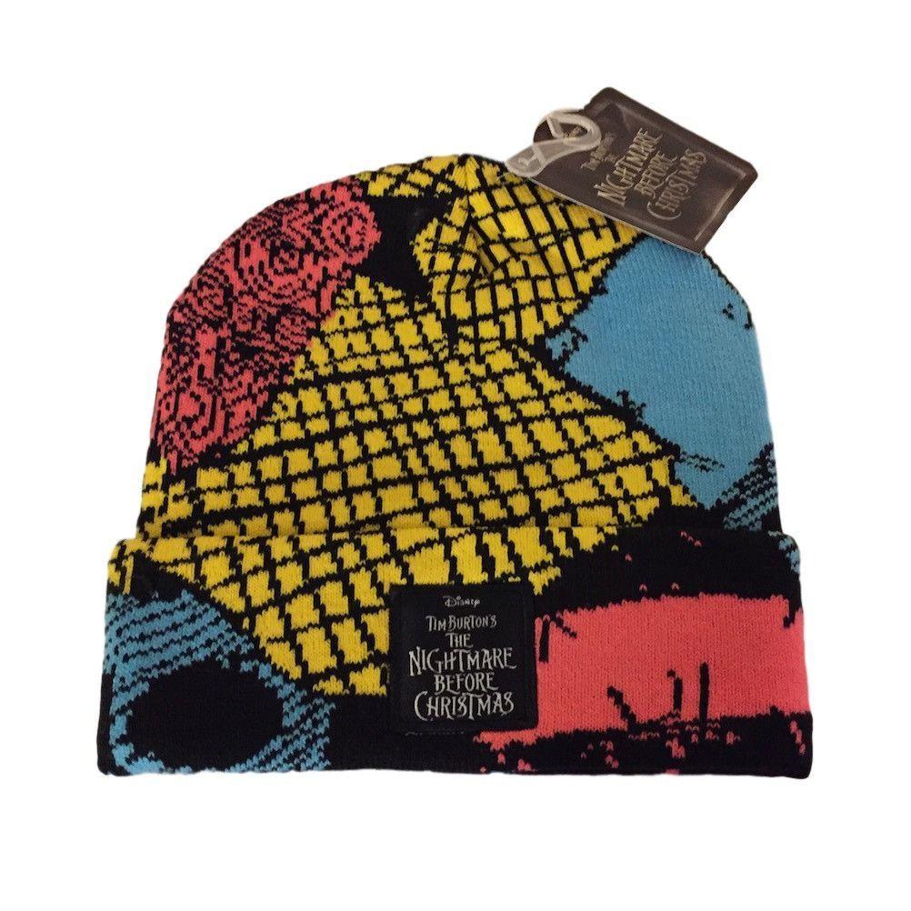 9444735d4ad Nightmare Before Christmas Patch Logo Sally Cuff Beanie Knit Hat NWT Tim  Burton