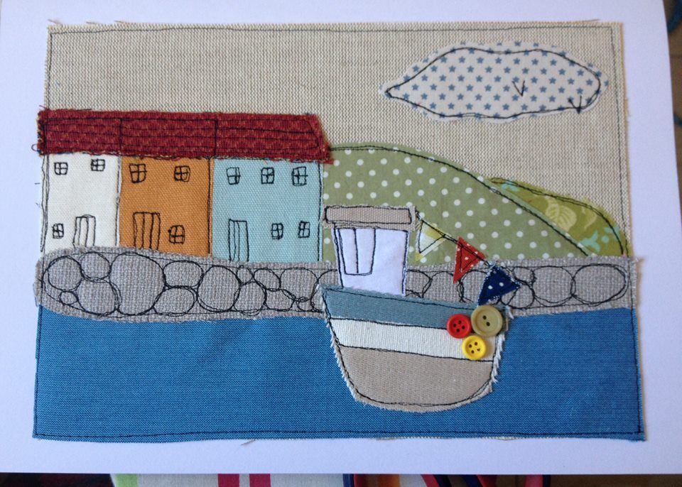 #ZoeWrightTextiles #Cornwall #houses #harbour #fishingboat #sea