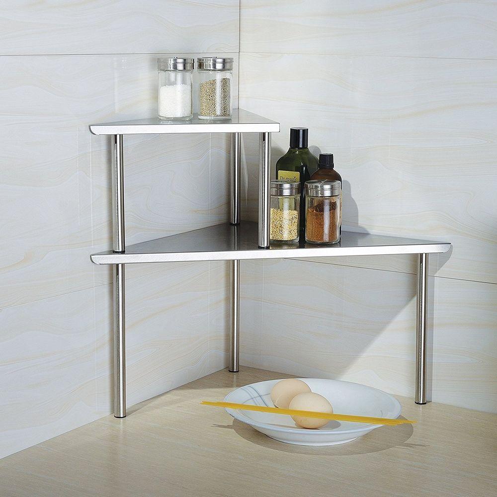 Rack Corner Stainless Steel Home Kitchen Bathroom Decor Storage Shelf Organizer Home Garden Kitchen Dining