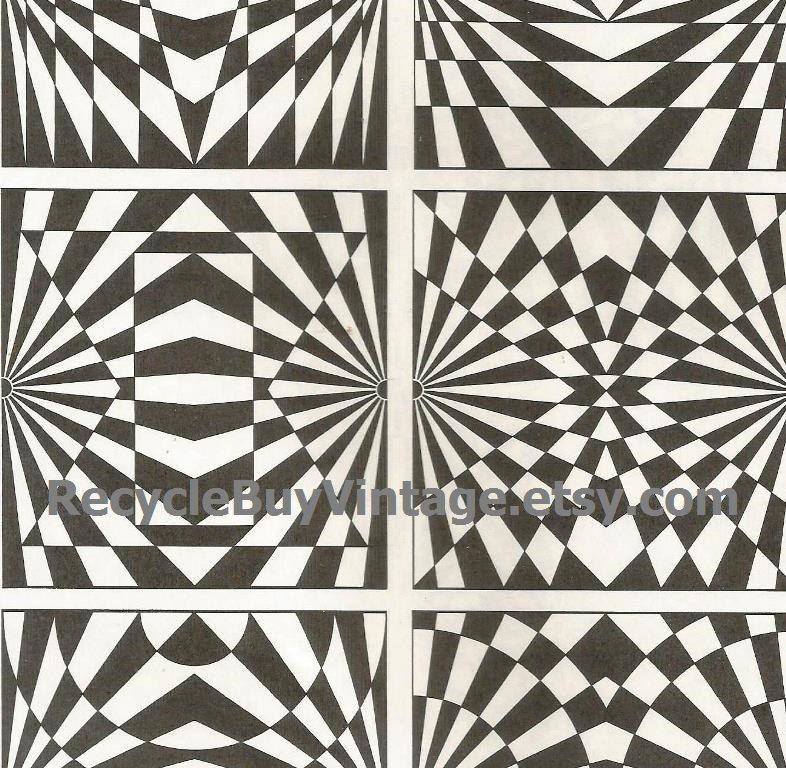 Vintage 1970s optic illusion pattern art print book plate black white pop art design retro home decor mod geometric picture wall 81 82