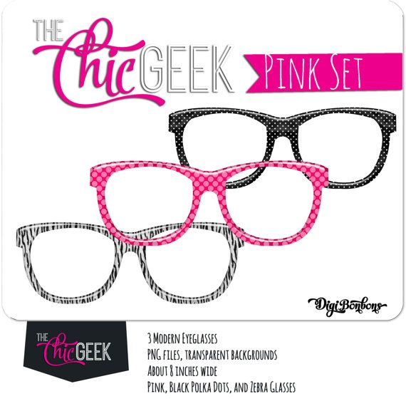 Nerd Glasses Clipart Instant Download Pink Black And Zebra Etsy Nerd Glasses Clip Art Geek Glasses