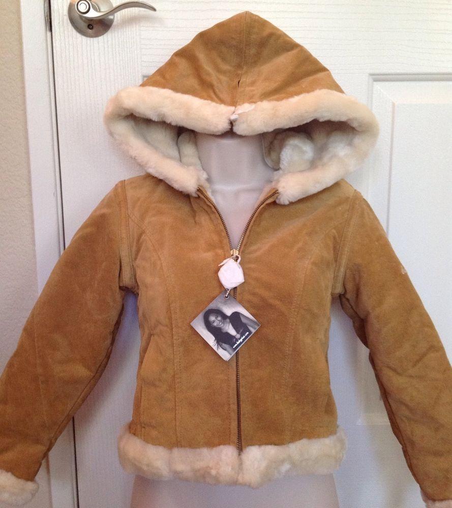 Genuine Leather Suede Shearling Baby Phat Women's Winter Coat Jacket M NWT #BabyPhat #BasicCoat