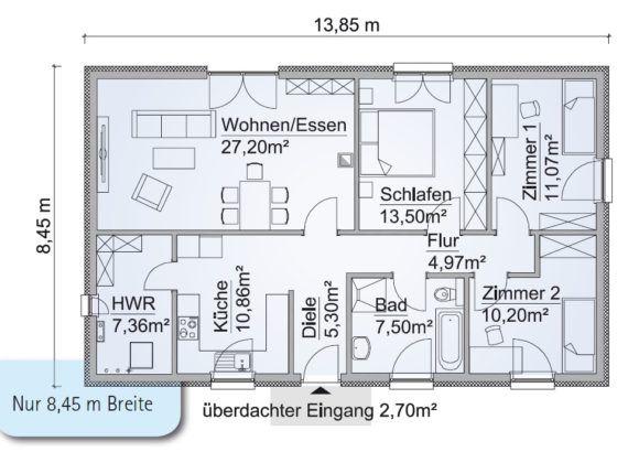 Bungalow Haus Grundriss schmal mit Walmdach Architektur