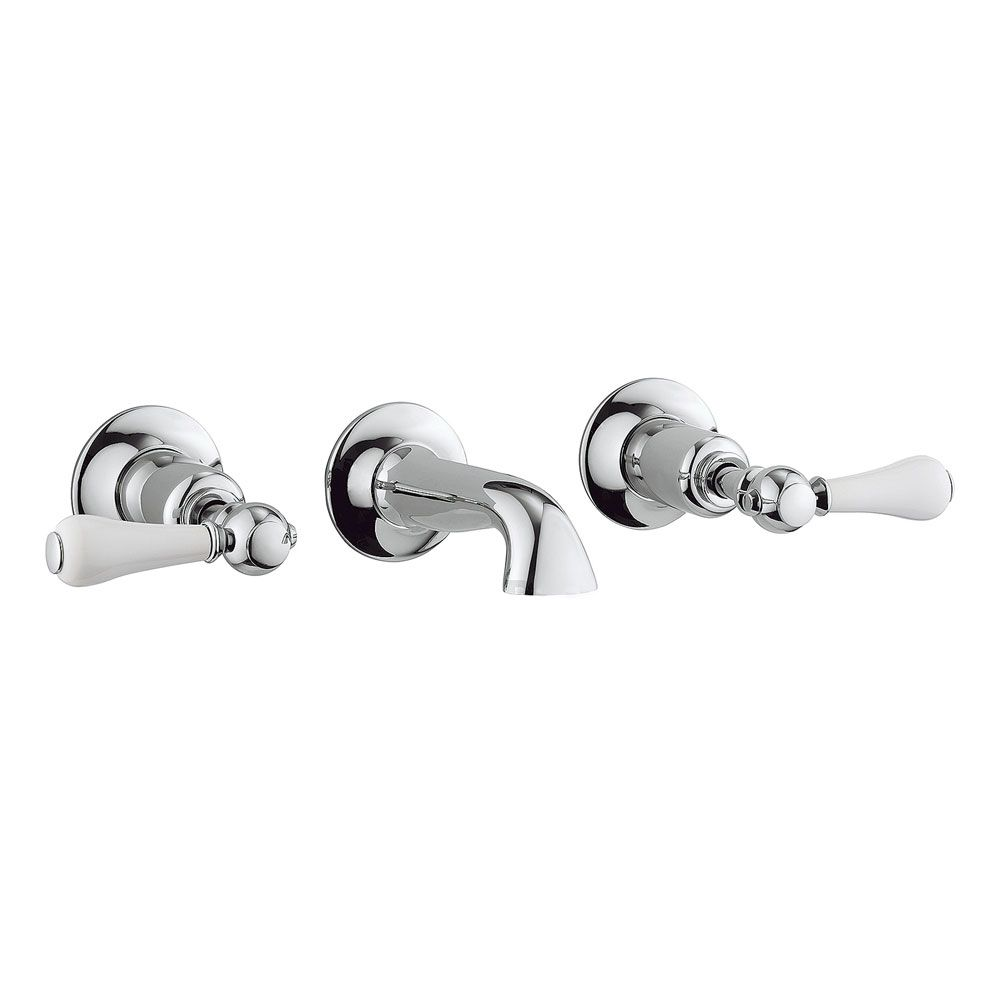 Crosswater - Belgravia Lever Wall Mounted 3 Hole Set Basin Mixer - BL131WNC_LV