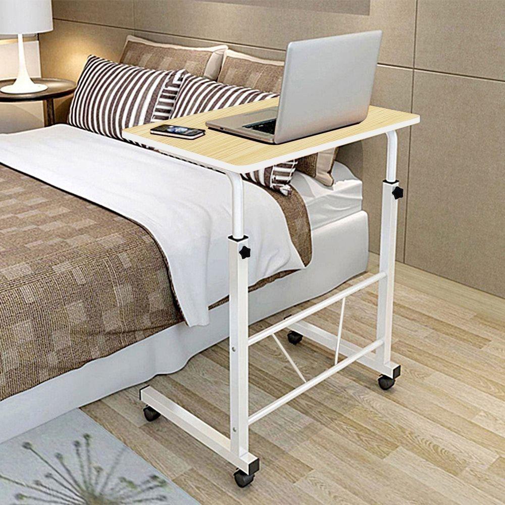 Bedside Overbed Table Rolling Adult Desk Hospital Bed Tray White