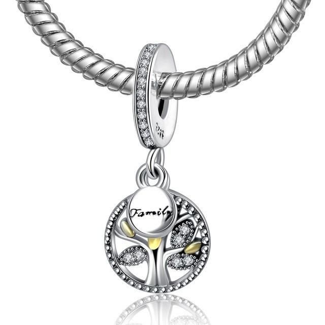 3b0678b88547a 925 Sterling Silver Bead Charm Tree Of Life With Family Pendant ...
