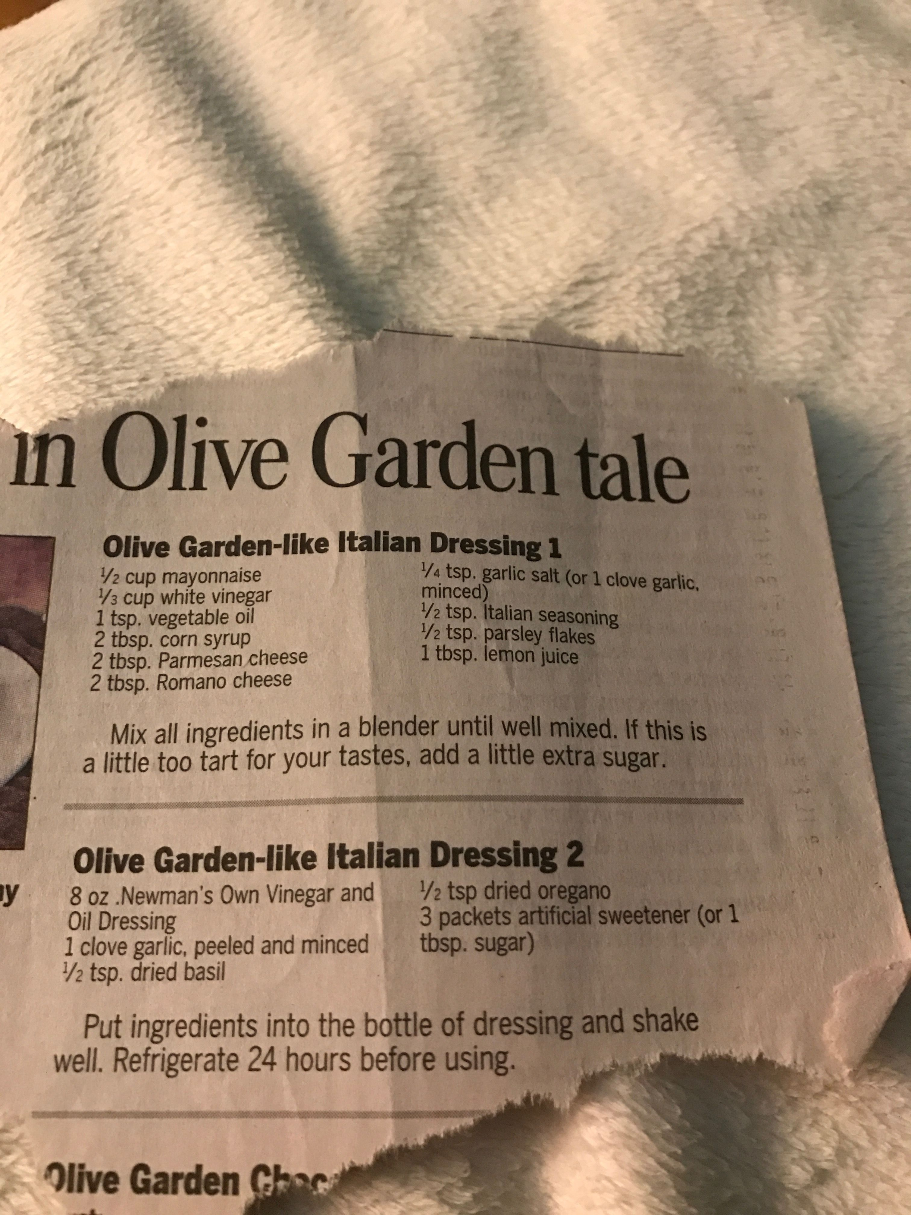 Olive Garden dressing | Sauces, Spices, Spreads, Dressings, and ...