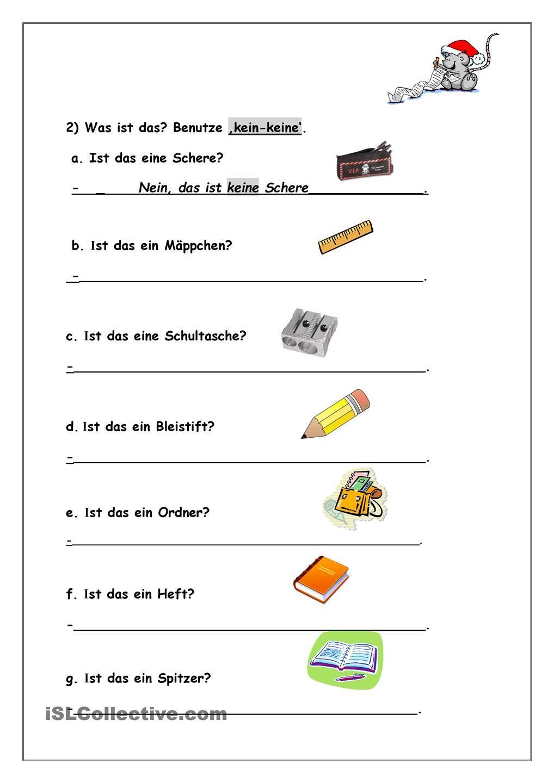 arbeitsblatt was ist das ein eine kein keine schulsachen deutsch deutsch german ve teaching. Black Bedroom Furniture Sets. Home Design Ideas