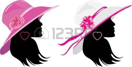 silueta de mujer con sombrero: Dos mujeres en un elegante sombrero Vectores