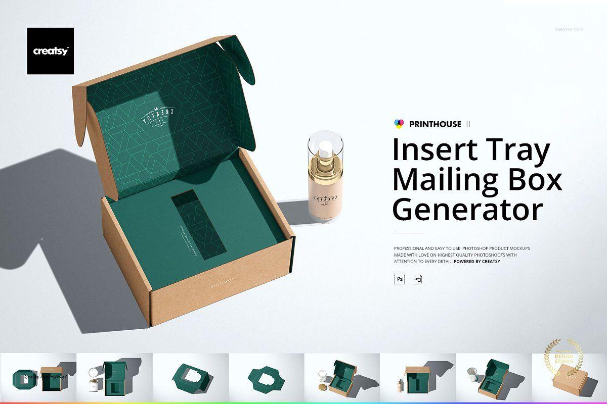 Download Insert Tray Mailing Box Mockup Set Box Mockup Mailer Box Design Box Template