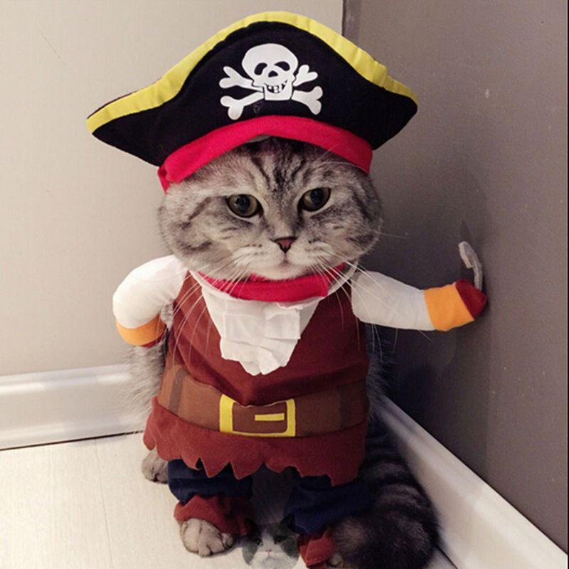 Quatang Gallery- Funny Cat Vestiti Del Pirata Abbigliamento Suit Per Cat Costume Abbigliamento Corsair Vestiti Di Halloween Vestire Cat Costume Party Suit 30s1 Vetement Pour Chat Chien Chat Bebe Chaton