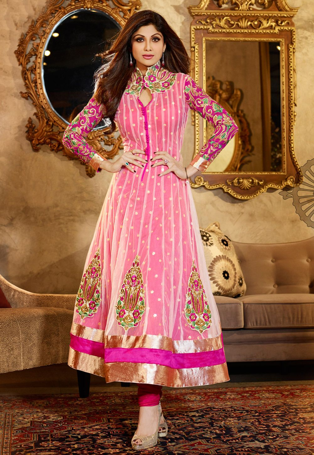 Offwhite and fuchsia net anarkali churidar kameez item code kah