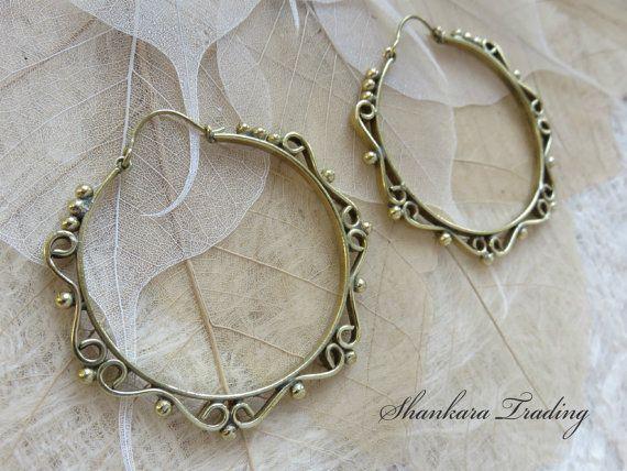 In Delicious Christmas Large Brass Tribal Boho Funky Mandala Gypsy Hoops Ethnic Earrings Fashionable Style;