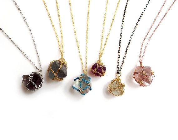 Crystal Necklace-Caged Crystals