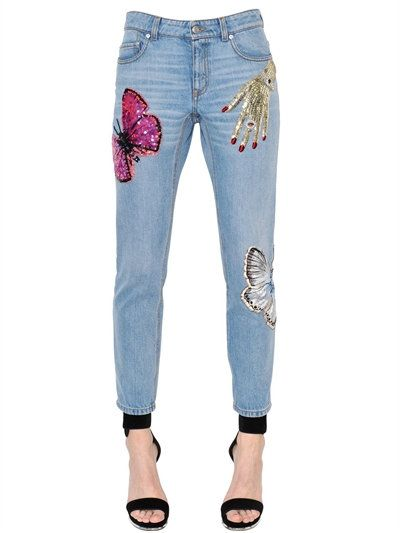 embroidered jeans - Blue Alexander McQueen