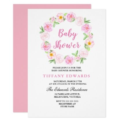 Cute pink floral wreath baby shower invitation floral wreath cute pink floral wreath baby shower invitation floral wreath shower invitations and floral invitation filmwisefo Choice Image