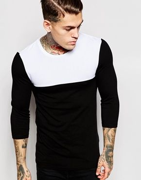 ASOS Extreme Muscle 3/4 Sleeve T-Shirt With Contrast Yoke